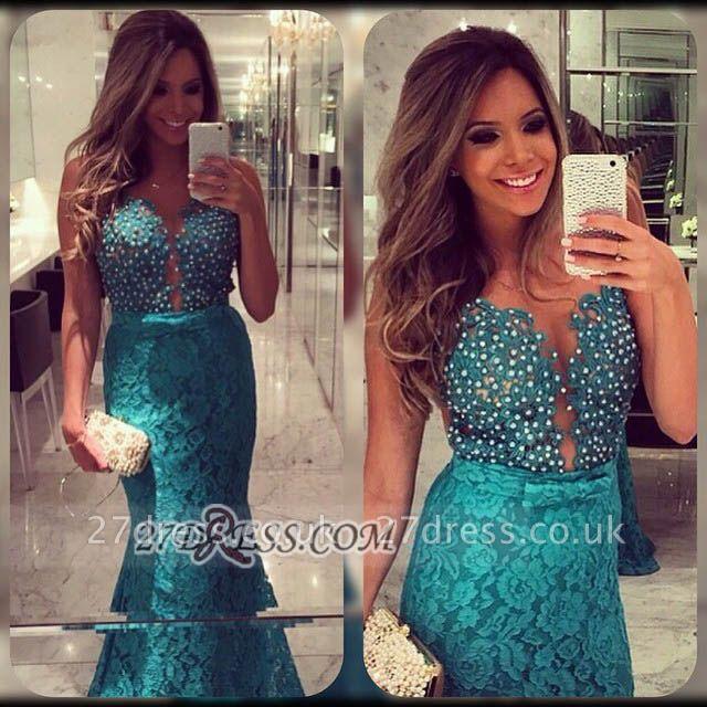 Elegant Sweetheart Beadings Lace Prom Dress UKes UK Sleeveless Mermaid Eveing Gowns
