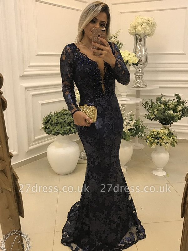 Sexy Long Sleeve Lace Evening Dress UK Mermaid Beadings On Sale BA7446