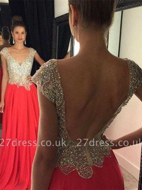 Luxury Crystal Open Back Evening Dress UK Cap Sleeve Long Chiffon Prom Gown