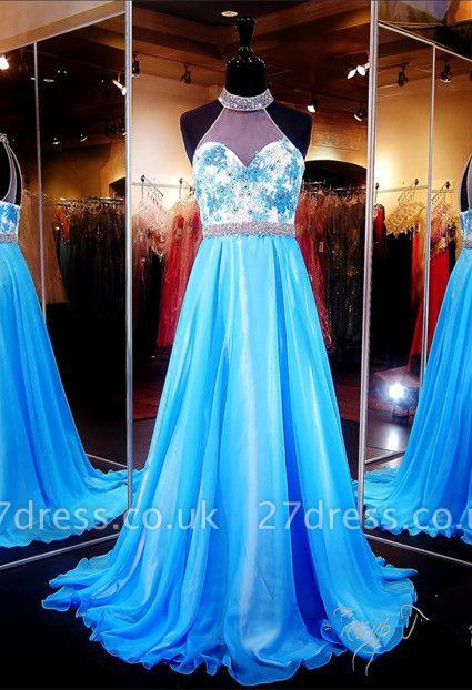Elegant Halter A-line Evening Dress UK Lace Appliques Zopper