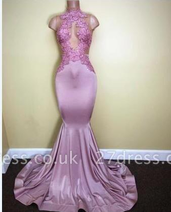 Sleeveless Sweep-Train Appliques High-Neck Mermaid Newest Prom Dress UK BA5116