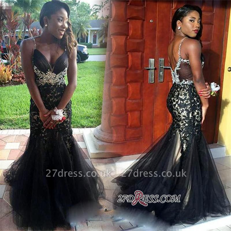 Mermaid Tulle Spaghetti-Straps Crystal Appliques Black prom Dress UK BK0