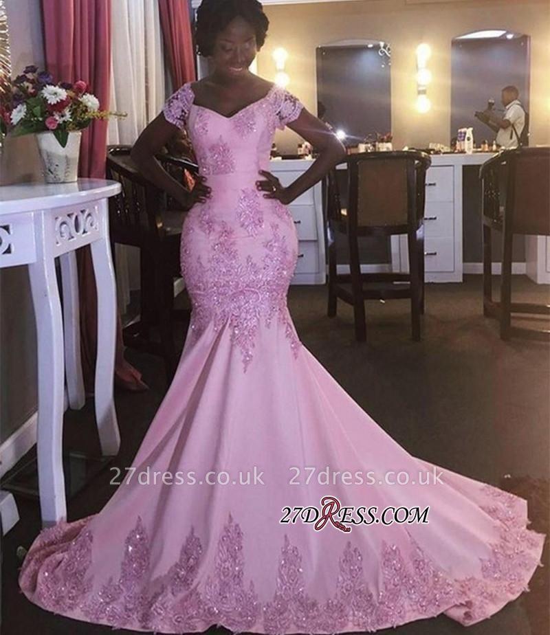 Pink Newest Appliques V-Neck Mermaid Short-Sleeves Prom Dress UK BK0 BA8050