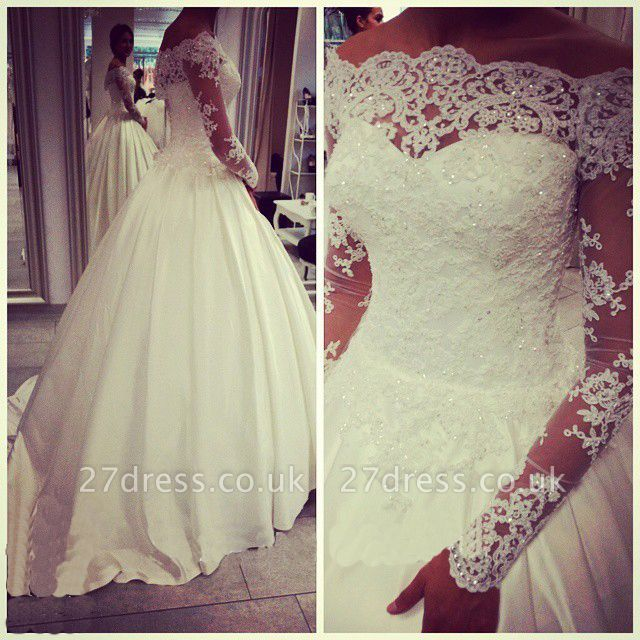 Elegant Off-the-shoulder Long Sleeve Wedding Dress With Beadss Appliques