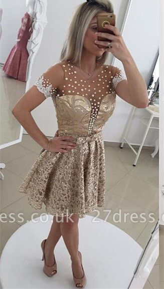 Gorgeous Pearls Lace Cocktail Dress UK Illusion Short Sleeve BT0