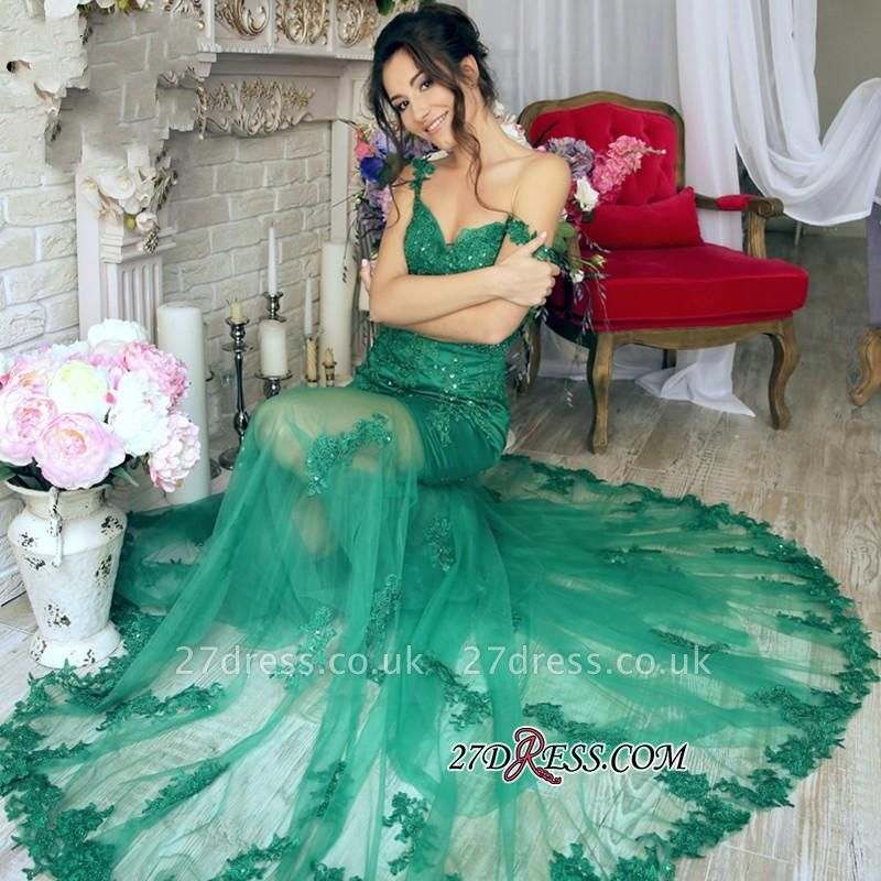 Sheer-Skirt Appliques Green Luxury Off-the-Shoulder Mermaid Prom Dress UK PT0350