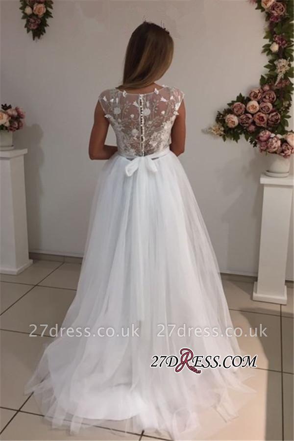 White Tulle Appliques Elegant A-Line Cap-Sleeves Wedding Dresses UK