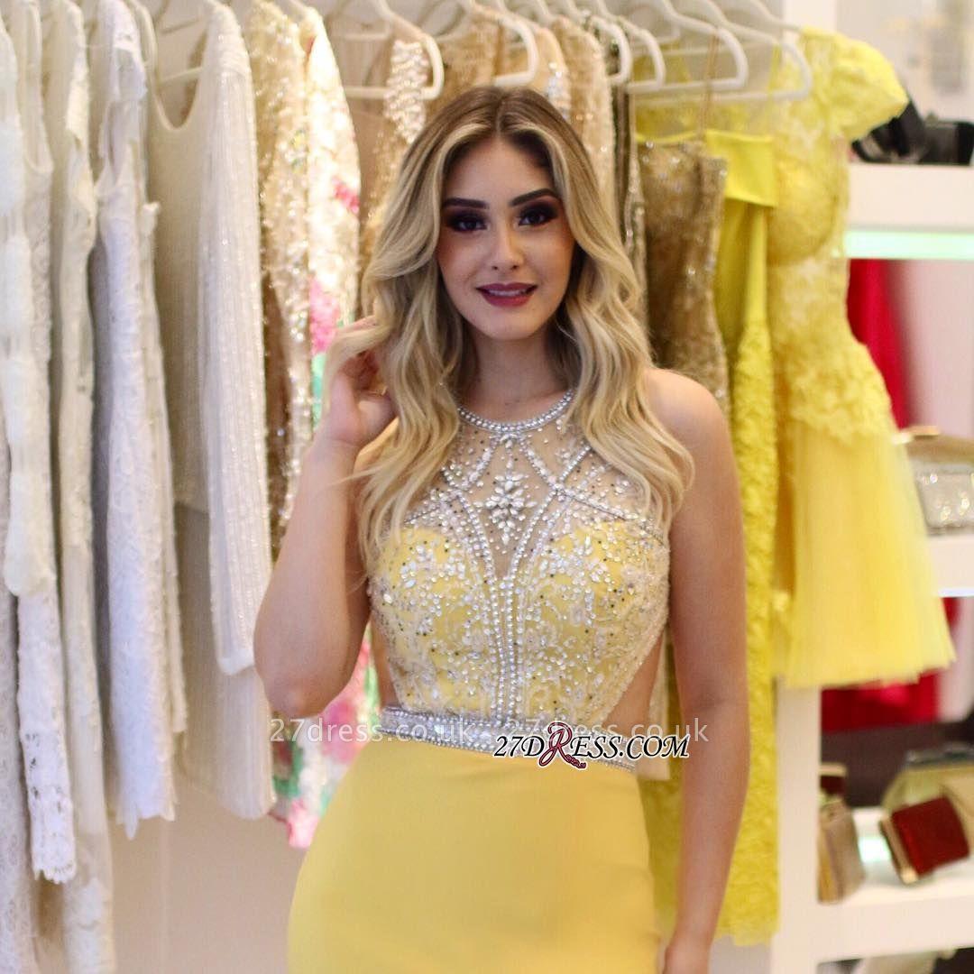 Yellow Sheath Silt-Side Jewel Beading Sleeveless Brilliant Prom Dreses