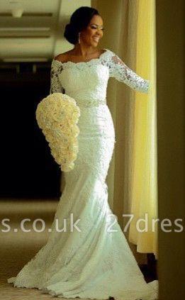 Elegant Half-Sleeve Lace Wedding Dress Sexy Mermaid Crystal Bow Back