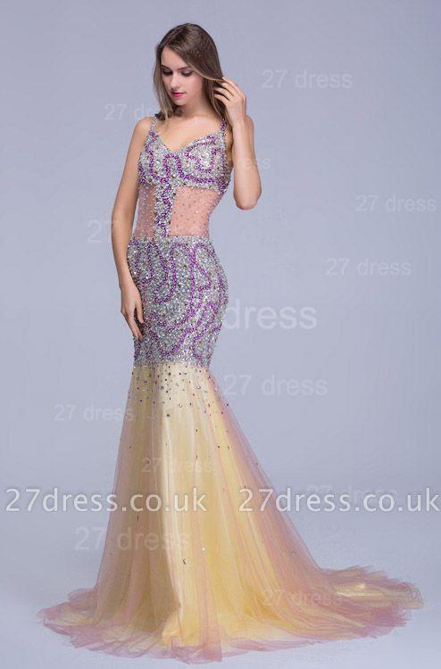 Gorgeous Spaghetti Strap Mermaid Evening Dress UK Sweep Train