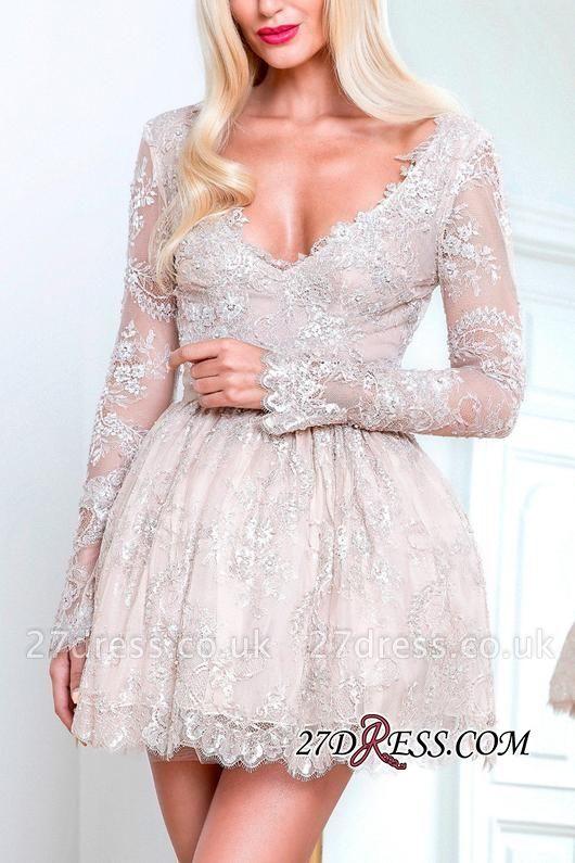 Short Champagne Long-Sleeve Lace Homecoming Dress UKes UK