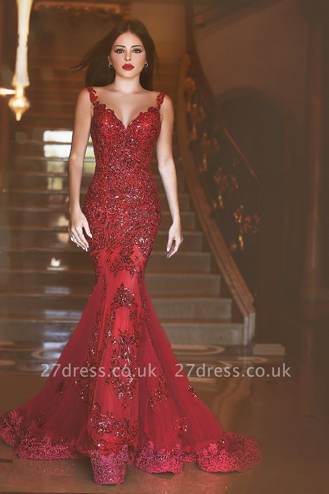 Gorgeous Red Mermaid Sequins Prom Dress UK Appliques Sweep Train