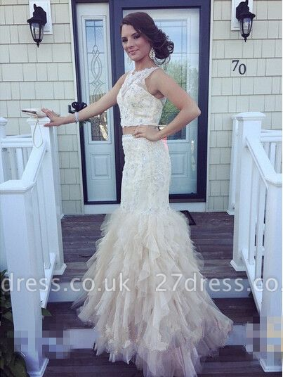 Luxury Two Pieces Mermaid Prom Dress UKes UK Appliques Beaidngs Tulle