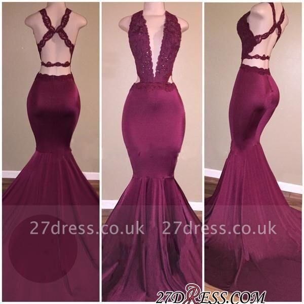 Cross-Back Mermaid Deep-V-Neck Beading Elegant Prom Dress UKes UK
