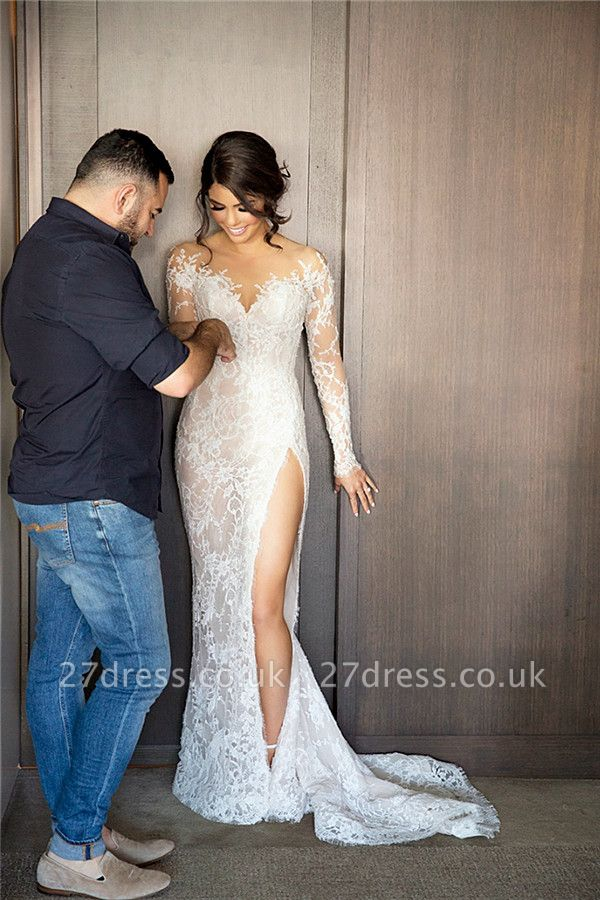 Sexy Mermaid Lace Appliques Wedding Dress Front Split Sweep Train