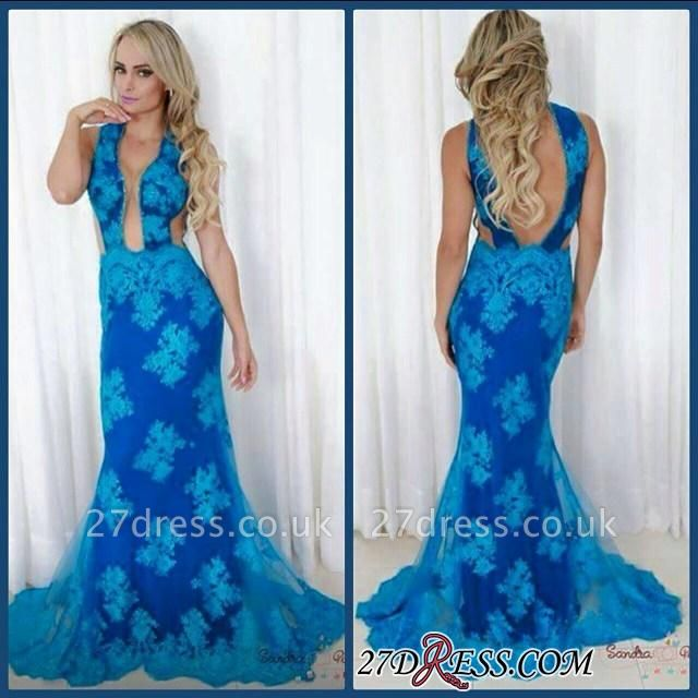 Blue Backless V-neck Sheath Sweep Elegant Train Evening Gown
