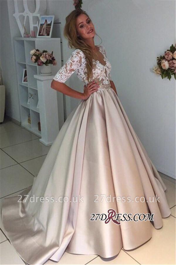 Puff Illusion A-Line Elegant Half-Sleeves Appliques Lace Wedding Dress BA9024