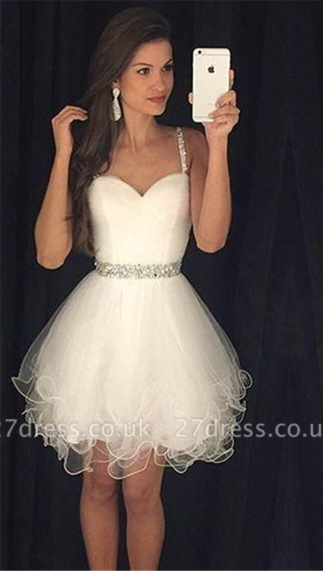 Modern Spaghetti Strap Crystal Homecoming Dress UK Mini Sleeveless White AP0 ly0105