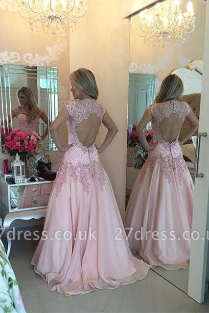 Delicate Pink Lace Appliques Prom Dress UK Sweep Train