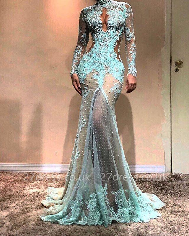 Luxury Long Sleeve Mermaid Evening Dress UK | Lace Formal Dress UK