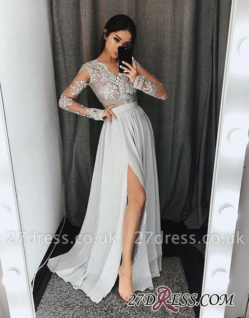 Lace Split-front Long-sleeve Gray Stylish A-line Evening Dress UK