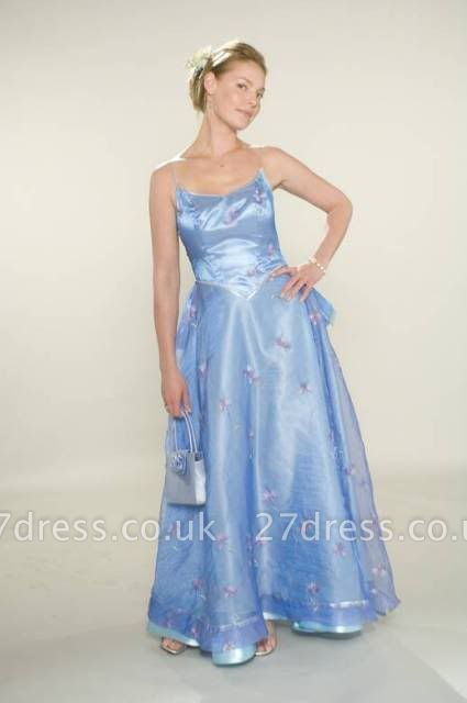 Spaghetti Bridesmaid Dress UKes UK for Sale Sexy Blue Straps Flowers A-line Tulle Satin Bridesmaid Dress UK for