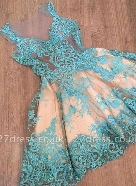 Elegant A-Line Homecoming Dress UKes UK | Lace V-Neck Sleeveless Cocktail Dress UKes UK