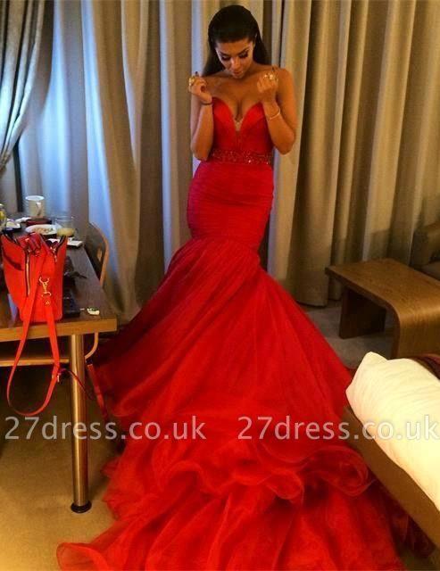 Elegant red Sweetheart Evening Dress UK Mermaid Beadings With Train