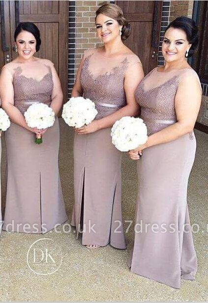 Sexy Illusion Appliques Bridesmaid Dress UK With Front Split