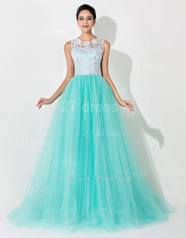 Gorgeous Illusion Lace Sleeveless Evening Dress UK Zipper Button Back