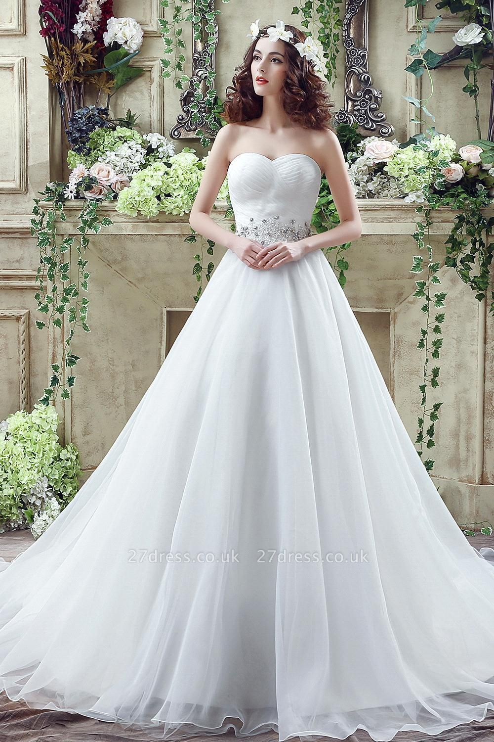 Chic White Sweetheart Beadss Wedding Dress Court Train Lace-up