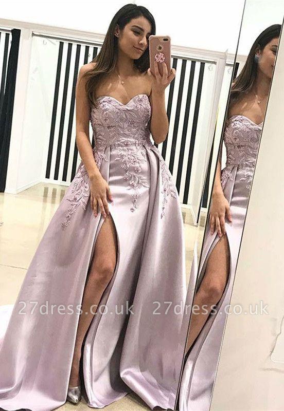 Luxury Sweetheart Evening Dress UK   2019 Lace Appliques Prom Dress UK With Slit BA9853