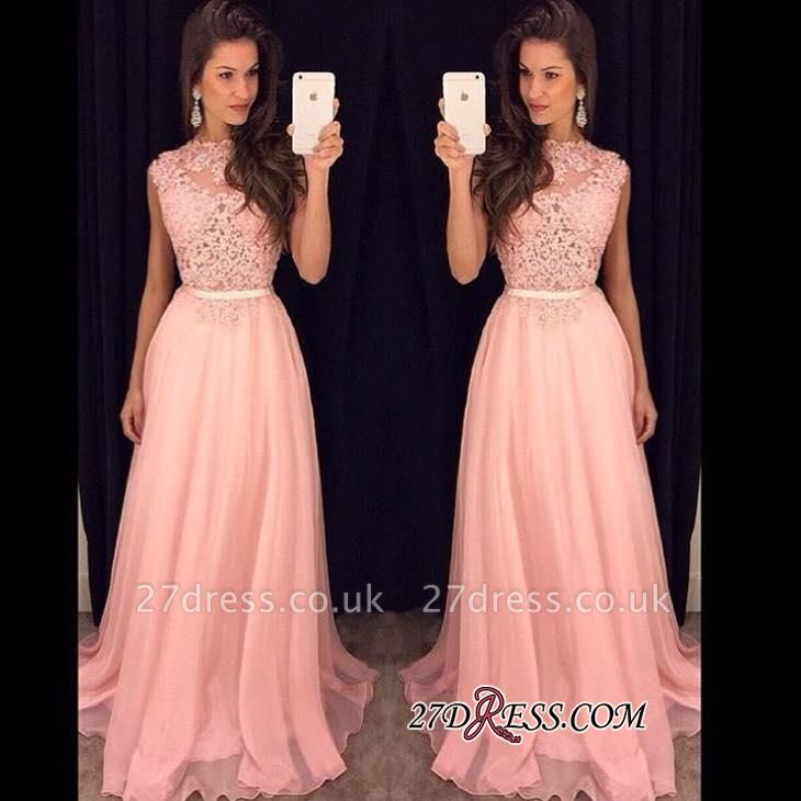 Sexy Lace Sheer Sash Pink Long Sleeveless with Prom Dress UKes UK AP0 BA3242