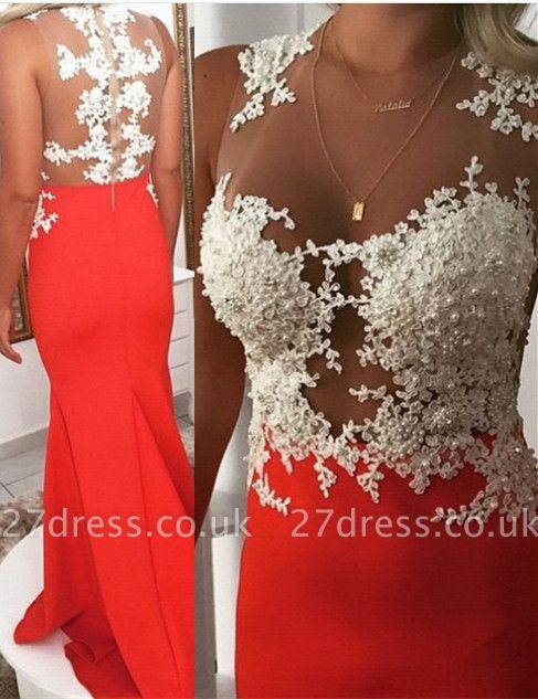 Luxury Orange Sleeveless 2107 Prom Dress UK Lace Mermaid Evening Dress UK