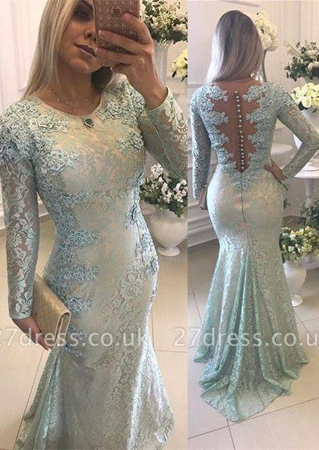 Gorgeous Long Sleeve Lace Evening Dress UK Mermaid Zipper Button Back Long Party Dress UK BMT BA9342