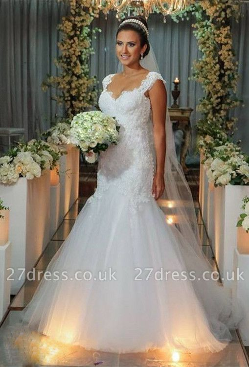 Modern Tulle Lace Appliques Sexy Mermaid Wedding Dress Sweep Train