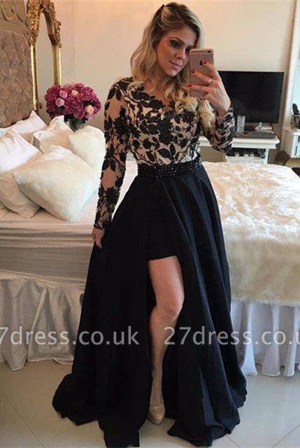 Elegant Black Long Sleeve Evening Dress UK | 2019 Lace Prom Dress UK On Sale
