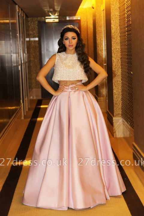 Delicate Beadings Two Piece Prom Dress UK A-line Floor-length