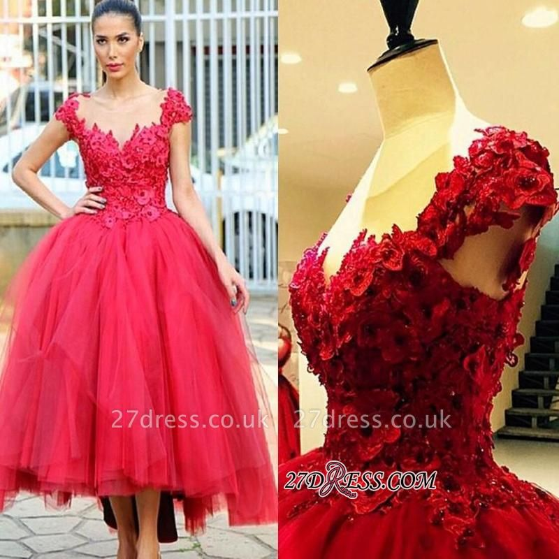 Flowers Cap-Sleeves Tired Pearls High-Low Ball-Gown Evening Dress UK