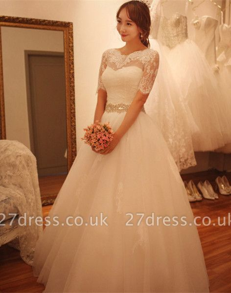 Elegant Half-Sleeve Tulle Lace Wedding Dresses UK A-Line With Crystal