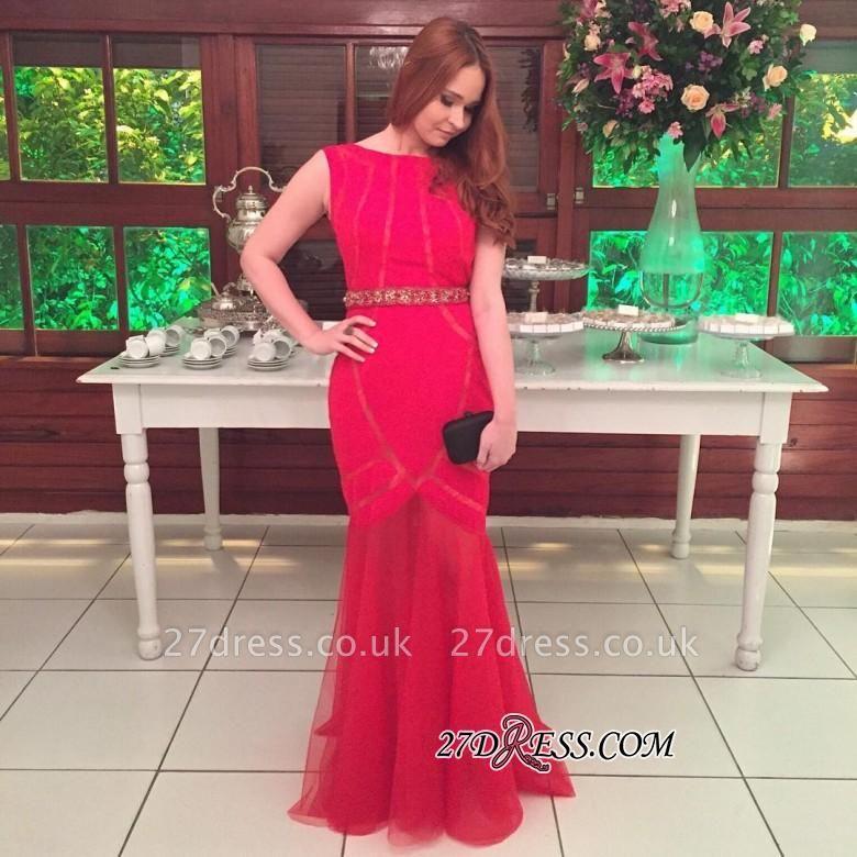 Floor-length Beading Elegant Scoop Mermaid Tulle Prom Dress UK