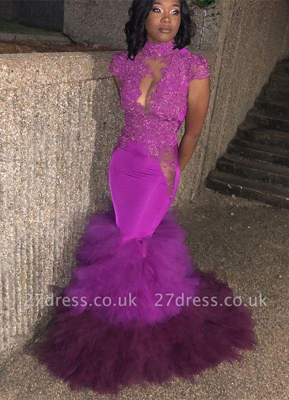 Cap-Sleeve Mermaid Prom Dress UK | Lace Ruffles Evening Gowns BA8904