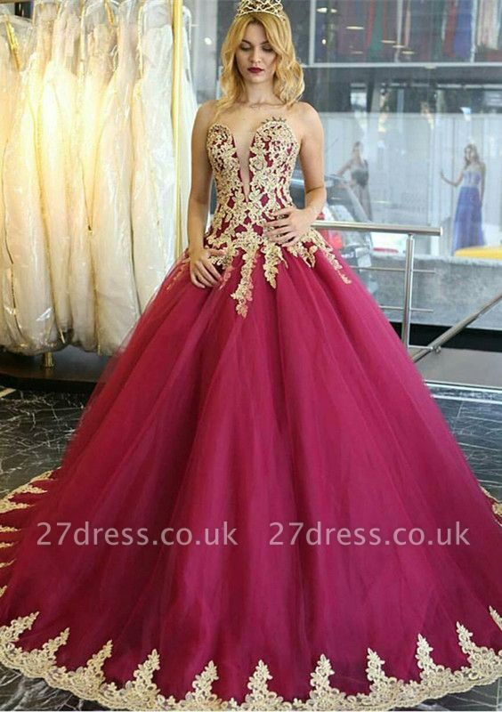 Amazing Lace Appliques Evening Dress UK Ball Gown Formal Wear