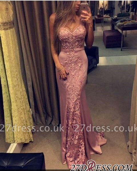 Sleeveless Mermaid Pink Sweetheart-Neck Lace-Appliques Evening Gowns