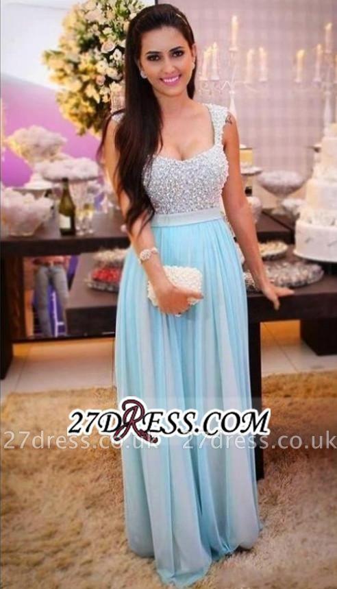 Beading Crystal Sleeveless A-Line Empire Long Prom Dress UKes UK