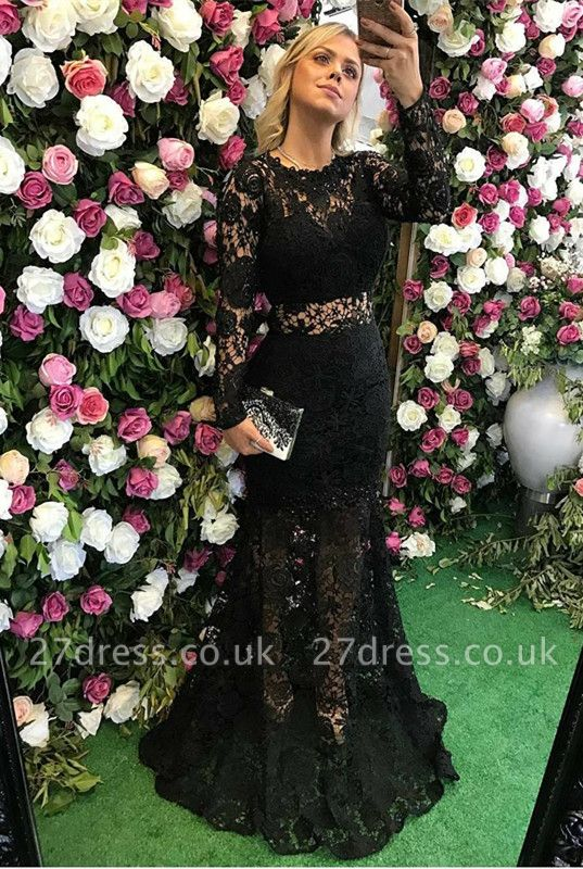Elegant Black Long Sleeve Lace Prom Dress UK Sheer Party Gowns On Sale