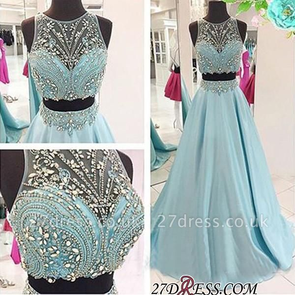 Two-Piece Crystals Sexy Long Beaded Blue Prom Dress UKes UK
