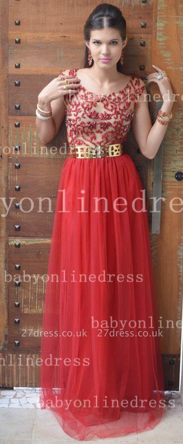 Evening Elegant Red Prom Dress UKes UK New Fashion Dress UKes UK Cap Sleeves Vestidos Female Formal Tulle Bead Dress UKes UK