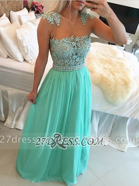 Gorgeous Chiffon Long Prom Dress UK With Pearls And Lace BT0