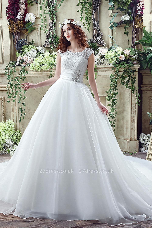 Elegant Illusion Lace Beadss Wedding Dress Cap Sleeve Zipper
